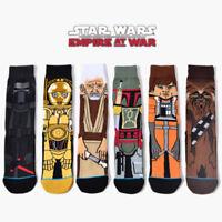 6 Pairs Mens Cotton Novelty Cartoon Star Wars Warm Crew Skateboard Long Socks