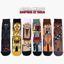 US 6 Pairs Mens Cotton Novelty Cartoon Star Wars Warm Crew Skateboard Long Socks
