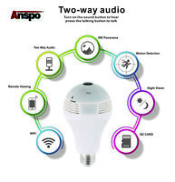360°HD Wifi Bulb Hidden IP Camera Panoramic Home Security Spy Cam Light LED Bulb