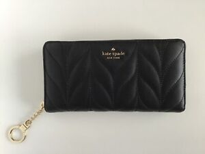Kate Spade New York Briar Lane Quilted Large Leather Wallet Black/Goldtone - NWT