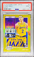 Lonzo Ball 2018 Contenders Optic Gold 2/10 Jersey # LA Lakers PSA 9 POP 1