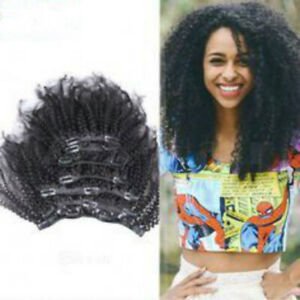 7pcs 12'' 120G Afro Kinky Curly Clip in Human Hair  Mongolian Kinky Hair Weft US