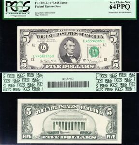"""Major ERROR note """"MISMATCHED SERIAL NOS."""" 1977 A $5 FRN PCGS 64 PPQ!"""