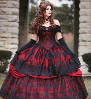 Gothic Red/Black Wedding Dresses Off Shoulder Applique Lace Fantasy Bridal Gowns