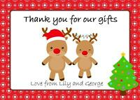 Reindeer Christmas Thank You Cards Personalised Pack of 12 with envelopes
