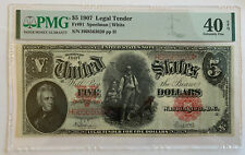 1907 $5 Legal Tender United States Note PMG 40 SPEELMAN/WHITE Large Banknote