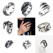 Men's Vintage Retro Punk Biker Stainless Steel Black Silver Adjustable Claw Ring
