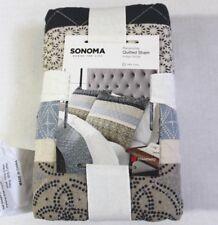 Sonoma Printed Indigo Stripe Reversible Quilted Cotton Standard Pillow Sham