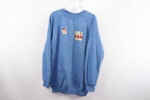 NOS Vintage 80s Streetwear Mens XL Long Sleeve Blank Crewneck Sweatshirt Blue