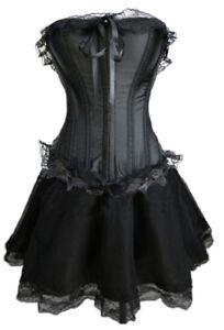 UK Burlesque Moulin Rouge FANCY DRESS Corset&Skirt Costume Shaper Plus Size New