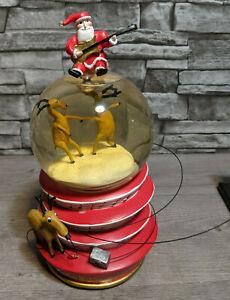 Neiman Marcus Dept 56 Christmas Musical Snow Globe 2004 Santa Reindeer Guitar