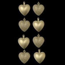 Pack of 8 Champagne Heart Christmas Tree Bauble Pendant Decorations