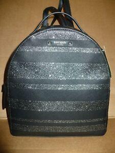 KATE SPADE Haven Lane Sammi NWT Small Backpack Black Glitter Stripes Silver