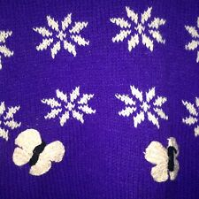 New Ladies Purple Reversible Hand Knitted Jumper with Flowers Size XL (UK)