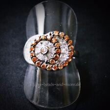 Padparadscha Quarz Baguette Weißtopas Designer Ring 925er rhodiniert 17,5 mm