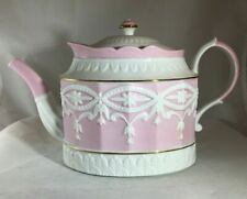 High Tea Teapot With Lid  by Lenox c 2007-2008 Pattern Retired White and Pink