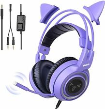 purple Gaming Headset With Mic Girls Cat Ear Wired Headphone PC XBOX PS4 Stereo