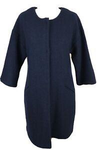 Clements Ribeiro Portobello Fuzzy Navy Blue 100% Wool Coat Half Sleeve Size S