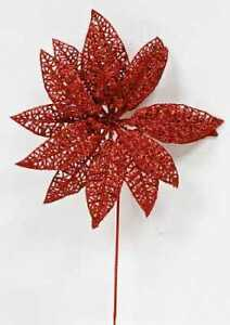 Sparkling Red Lace Artificial Poinsettia Picks   12 Picks