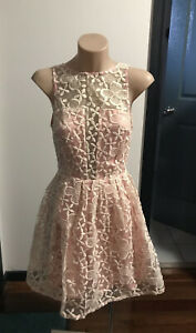 MIKA & Gala Pink Lace Boho Fit  & Flare Dress Size 6💚REDUCED TO CLEAR