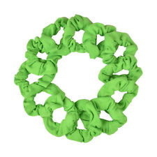 12 Soft Small Cotton Scrunchies Stretchy Neon Green Hair Bobbles Pony Holder