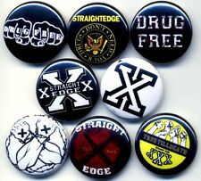 "Straight Edge 8 NEW 1"" buttons pins badges sXe drug free XXX hardcore punk"