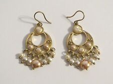 Cute Golden Dangle Hook Earrings with Faux Pearls Signed LC Liz Claiborne