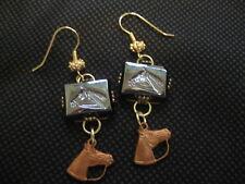 Hematite intaglio earrings. Horse Head Vintage glass