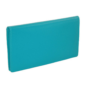 ILI Genuine Leather Checkbook Cover with RFB Card Slots and Pen Loop - AQUA