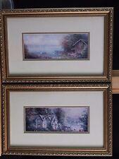 Mark St. John Pair of Water Color Prints Framed pier, harbor, resort