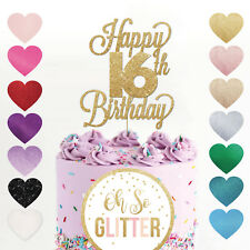 Happy 16th Birthday Cake Topper sweet 16 Daughter son nephew niece glitter