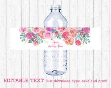 Pink Watercolor Flowers Water Bottle Labels Printable Editable PDF