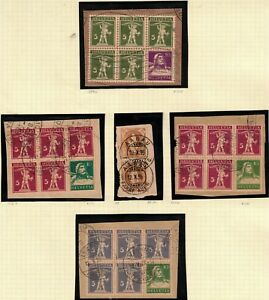 Switzerland Booklet Panes of 6 Stamps + 1 Pair Tied to Paper