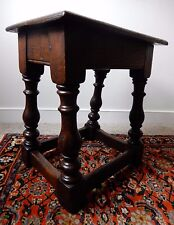 17th C revival joined oak stool on baluster turned legs joined by stretchers