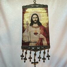 18'' Huge Woven Wall Hanging Tapestry Jesus Icon Crucifix Cross Christmas Gift