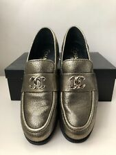 CHANEL Metallic Loafers with CC Logo - Size US 9.5 EU 39.5 - NEW