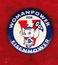 "WOMEN FOR EISENHOWER CLASSIC 1 1/2"" CAMPAIGN PINBACK"