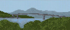 "Skye Road Bridge Kyle - Scottish Mini Cross Stitch Kit 8"" x 3.5"" - 14 Count Aida"