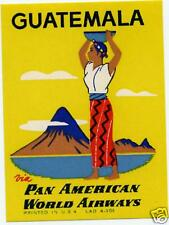 PAN AMERICAN / PAN AM to GUATEMALA - Airline Luggage Label / Poster Stamp, 1955