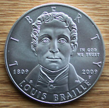 2009 Louis Braille Bicentennial BU Silver Dollar Commemorative US Mint Coin ONLY
