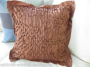 Decorator Feather Insert Smocked Cafe Brown Satin Smocked SPRINGMAID Pillow