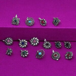 15 PCs Nose Rings Silver Oxidized Bollywood Style Pin For Women Indian Jewelry