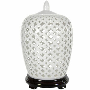 "Oriental Furniture 12"" Carved Lattice Decorative Vase Jar"