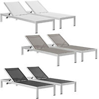 2 Outdoor Lounge Sun Chairs Black, White, Gray Textiline Mesh Brushed Aluminum