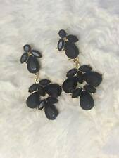 NEW BLACK GOLD TONE LONG EARRINGS RHINESTONE DANGLE