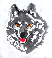 AUFNÄHER Patch WOLF Wolfskopf GRAU   19 x 21,5 cm aufbügelbar