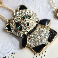 Jewelry Girl Long Chain Diomond Panda Pendant Necklace