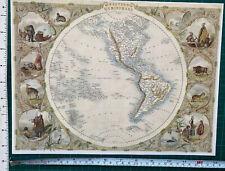 Historic Antique old colour map 1800s: Western Hemisphere: world Tallis Reprint