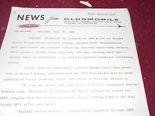 1963 OLDSMOBILE 98 JETFIRE F85 F-85 CUTLASS PRESS INTRO PACKET KIT W PHOTOS RARE