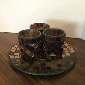 Mosaic Votive Candleholder Set of 3 & Plate, Browns, Home Decor